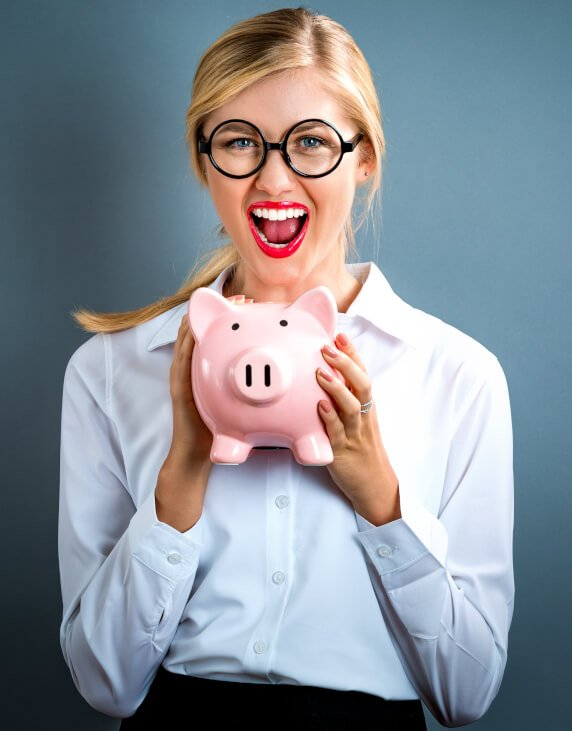 small business woman saving money
