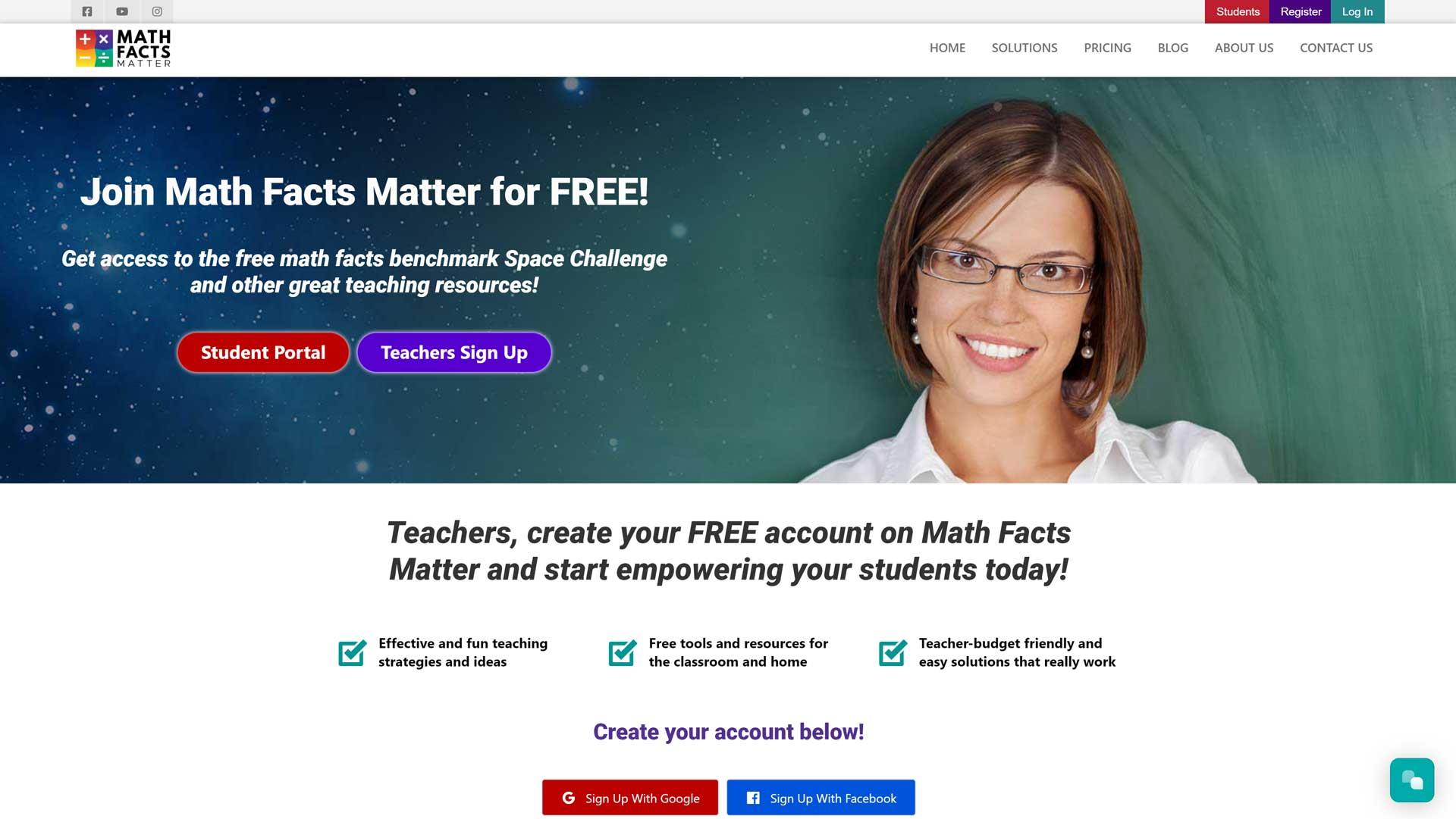 math facts matter website preview